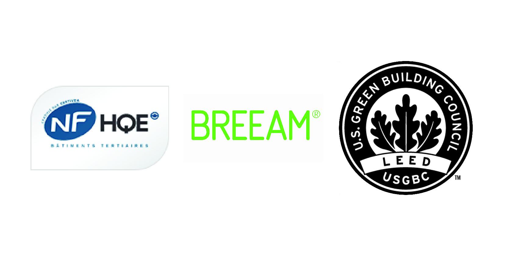 Logo HQE BREEAM et LEED