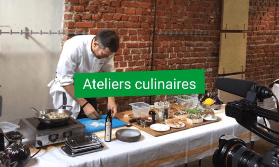 ateliers culinaires avec plancha par M. Bellissent grâce aux pleurotes qui poussent sur du marc de café
